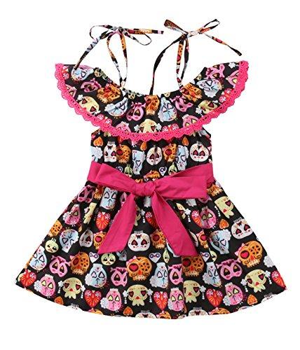 Urkutoba Baby Girl Halloween Theme Dress Ruffle Collar Lace Flroal Applique Halter Big Bowknot Full Skull Ghost Pattern Princess Dress (Black, 1-2 Year)