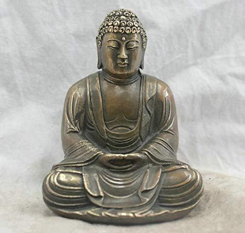 VietGT Brass Statue - Chinese Chinese Buddhism Bronze Kwan-Yin Bodhisattva Goddess Hand Buddha Statue - by GTIN - 1 Pcs - Lafing Buddha Statue - Lucky Buddha Statue