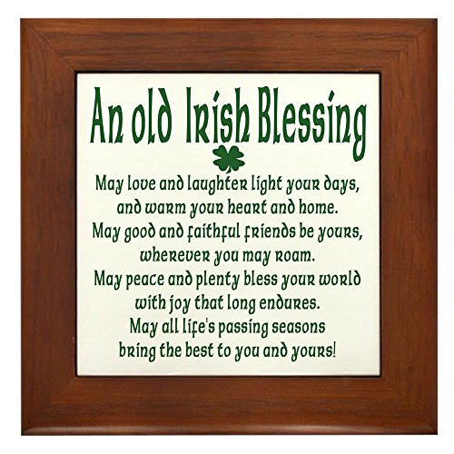 CafePress - Old Irish Blessing - Framed Tile, Decorative Tile Wall ()