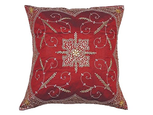 NovaHaat Beautiful Handcrafted Beaded Burgundy Sari Indian Floor Lounge Pillow/Cushion Cover Case with intricate Bead, Sequin and Zardozi Embroidery Work in Gold, India - Size: 26