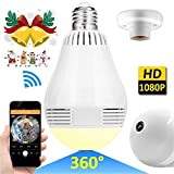 LED Bulb Wireless Hidden Wi-Fi IP Camera 360 Degree Panoramic 1080P HD Fisheye
