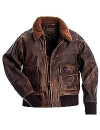 shop plus Aviator G-1 Flight Jacket Distressed Brown Real Leather Bomber Jacket