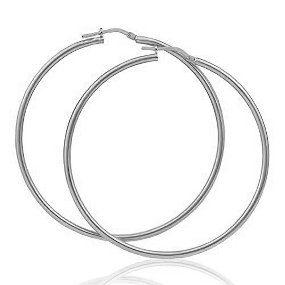 14K White Gold 1.25 inch Hoop Earrings with Click Top Backing
