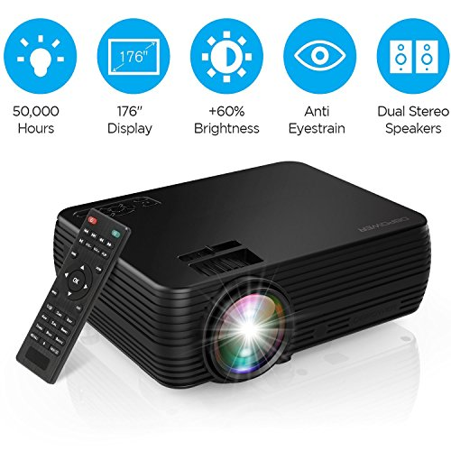 Projector, DBPOWER X5 Mini Movie Projector +60% Brightness Portable Video Projector Home Theater Support HD 1080P HDMI VGA AV USB for Laptop iPhone/iPad Smartphone Amazon Fire TV Stick Xbox-Black