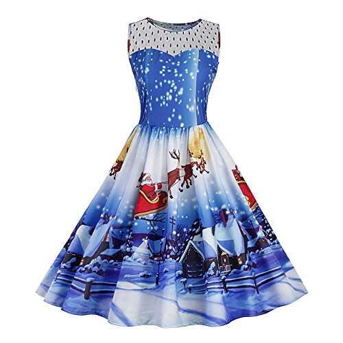 Sipring Womens Christmas Dresss 3D Print Swing Lace Party Dress Sleeveless Cocktail Dress (XL, Blue)
