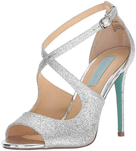 Blue by Betsey Johnson Women's SB-TACIE Heeled Sandal, Silver Glitter, 6 M US