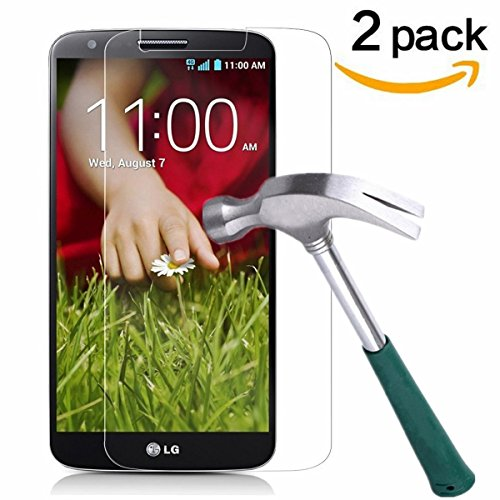 LG G2 Screen Protector,TANTEK [Bubble-Free][HD-Clear][Anti-Scratch][Anti-Glare][Anti-Fingerprint] Premium Tempered Glass Screen Protector for LG G2,[Lifetime Warranty]-[2Pack] (Tempered Glass Lg G2 compare prices)