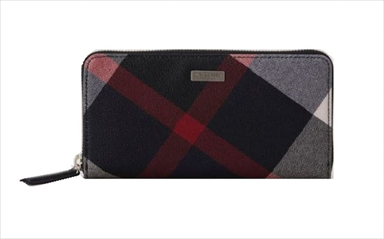 ブラックレーベル クレストブリッチ メンズ チェック PVC ラウンドジップ ウォレット 財布 長財布 バーバリー ライセンス商品 B0751H3DL4ネイビー