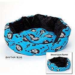 """Luxor Linens Soft and Comfortable Vetri Reversible Pet Bed - Plush & Cozy Perfect for Large or Small Animals - 3 Sizes & 15 Styles Available - Small (18"""" x 16"""") - Rhythm Blue"""