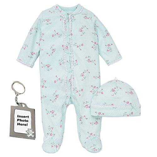 Little Me Girls Floral Spray Footed PJ's, Baby Hat and Keychain 6 Months, Green