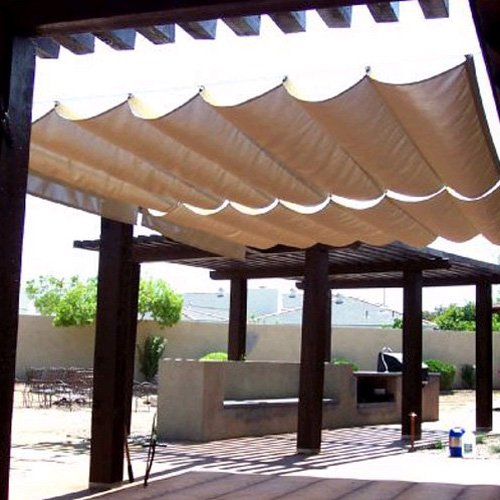 Modern Home Sail Roman Shade - Wave Sail (9.5' x 10') Modern Roman Shade