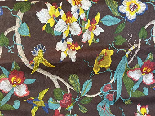 OctoRose Full Size 3 Side Zipper Linen Print Brown and Micro Suede Two Tone Flip Over Futon Slipcover Futon Cover (LinenPrint-Birds-Brown)