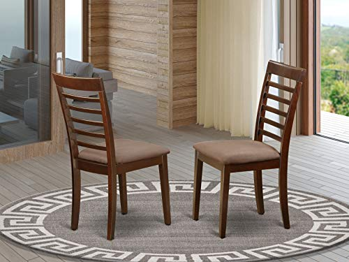 Milan Kitchen Chair with Microfiber Upholstery Seat - Mahogany Finish