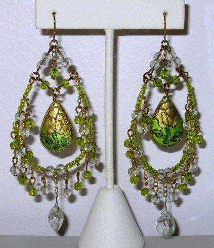 - Designer Style Chandeliar Earring with Flower Cloisonne Bead