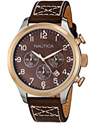 Nautica Mens N17648G BFD 101 Classic Brown Leather Chronograph Watch