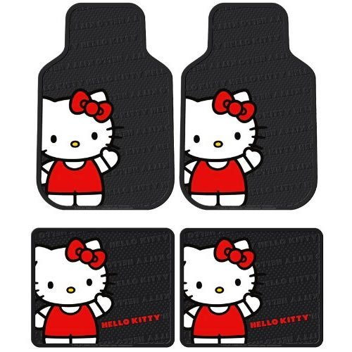 Hello Kitty Car (Plasticolor Hello Kitty Sanrio Waving Front & Rear Car Truck SUV Seat Rubber Floor Mats)