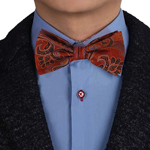 Epoint EBAB0117 Orange Blue Black Paisley Bow Ties Silk Wedding Presents Self-tied Bow Tie