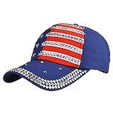 BAOBAO Women Men American Flag Full Rhinestone Baseball Cap Snapback Hip Hop Cap