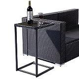 Tangkula Brown Coffee Tray Side Sofa End Table Rattan PE Wicker Square Glass Furniture