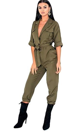 b85714468bc Ikrush Womens Otto Tie Waist Utiity Jumpsuit Khaki UK L  Amazon.co.uk   Clothing