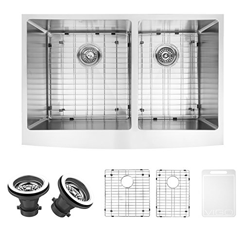 VIGO VGR3320BLK1 33 Inch Double Bowl 16 Gauge Stainless Steel Commercial Grade Farmhouse Apron Front Kitchen Sink with Two Grids and Two Strainers, Rounded Corners and SoundAbsorb Technology