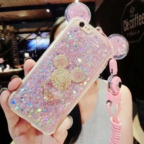 iPhone 8 plus case,3D Luxury Cute Bling Giltter Diamond Mouse Ring Kickstand Strap Phone Case Cover For iPhone 8 plus 5.5 inch