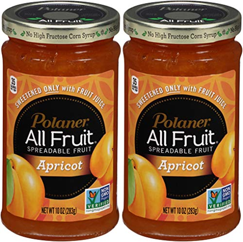 Polaner Apricot All Fruit, Spreadable Fruit Apricot, Sweetened Only With Fruit Juice, 10oz Glass Jar (Pack of 2, Total of 20 oz)