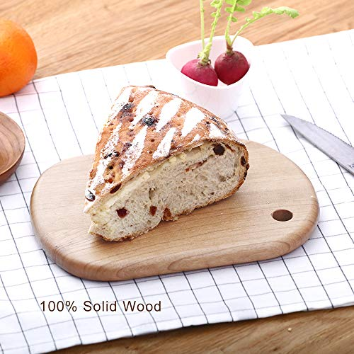 rs Serving Board With Handle, Small Pizza Stone Peel Chopping Paddle Cutting Slicing Platter For Cake Bread Sushi Crackers Biscuits Fruits Meat (Oak, 9x6 Bread Board) ()