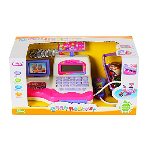 Children Pretend Toy Shopping Electronic Cash Register Realistic Actions & Sounds Pink