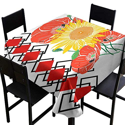 (Warm Family Dustproof Tablecloth Bouquet of Sunflowers and red Blossoming Poppies Great for Buffet Table W70 x)