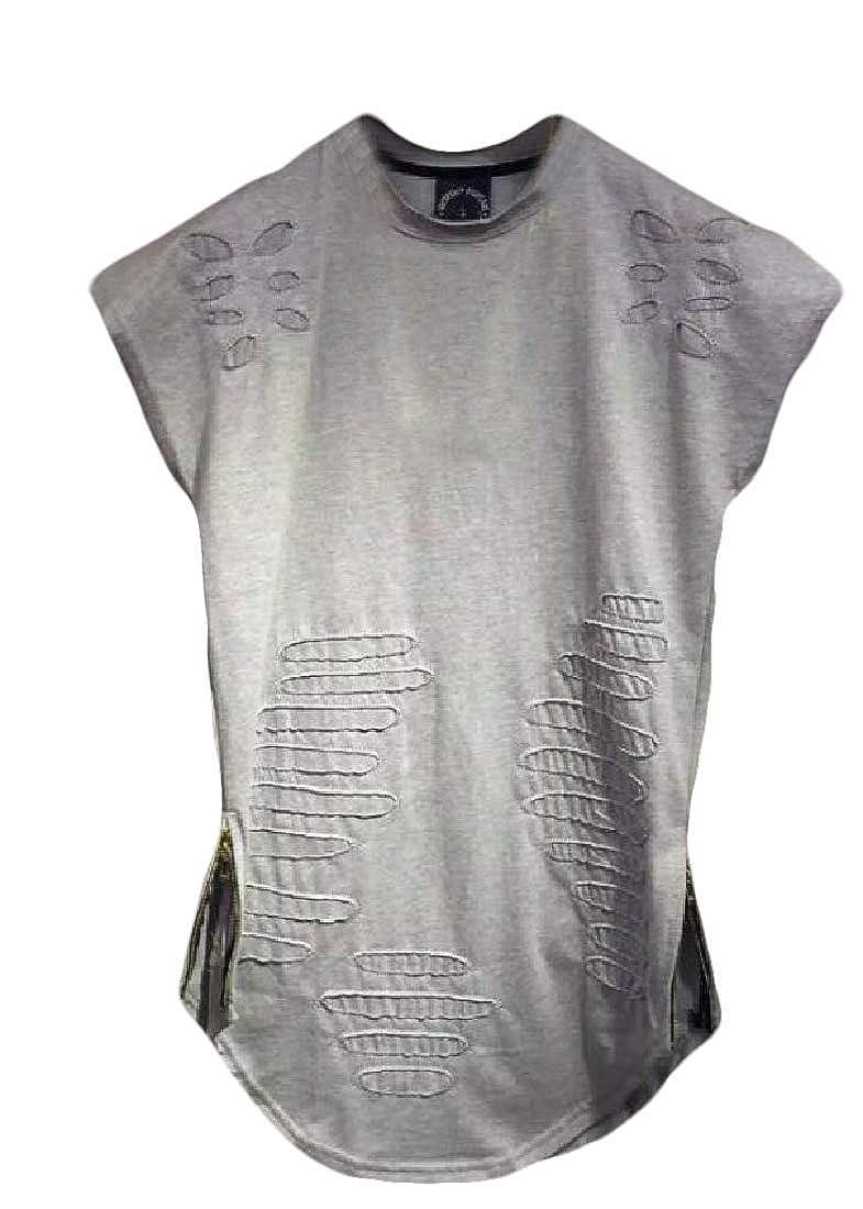 Men/'s Ripped Round Hemline Hole T Shirt Short Sleeve Curved Hem Tee