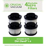 4 Highly Durable Washable & Reusable Dirt Devil Style F9 HEPA Filters; Compare to Dirt Devil Part Nos. 3DJ0360000, 2DJ0360000; Designed & Engineered by Think Crucial