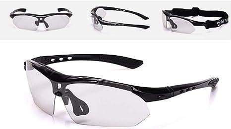 FANCYKIKI Gafas de Ciclismo Gafas de Bicicleta Que cambian de Color Gafas for Adultos al Aire Libre Adecuadas for Montar al Aire Libre Gafas de Sol de Cricket, (Color : Negro): Amazon.es: