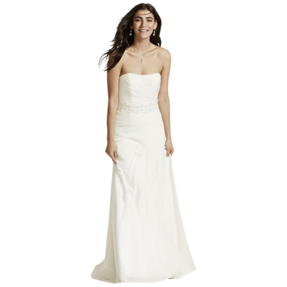 222d8003572f David's Bridal Crinkle Chiffon Wedding Dress with Draping Style V3540 at  Amazon Women's Clothing store: