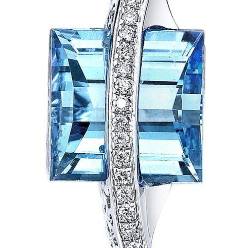 Revoni 14ct or blanc 585/1000 Enmerald Coupe7.00 carats Suisse topaze bleue Pendentif diamant
