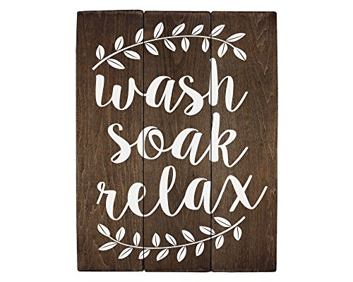 Elegant Signs Wash Soak Relax Wood Sign Bathroom