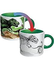 The Unemployed Philosophers Guild Disappearing Dino mugg – värmekänslig färgändrande kaffemugg – lägg till varm vätska och titta på dinosaurier vända sig till fossiler