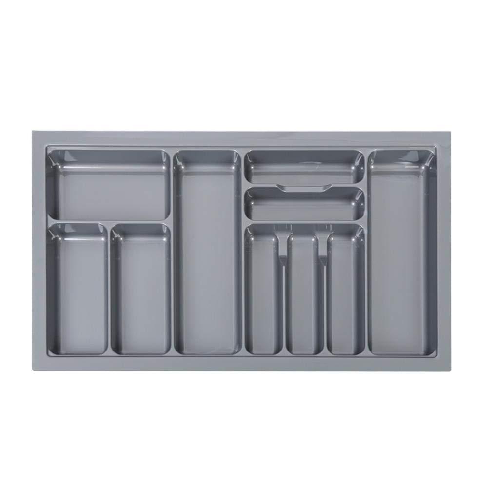 Organizer cassetto Antiscivolo e con 10 scomparti,Portaoggetti multiuso per Cucina,in plastica,83 Grigio Cassetto delle Posate per Cassetto da Cucina Portaposate da cassetto 5.5cm 48