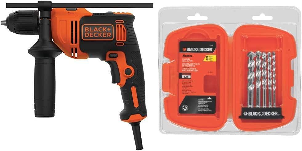 BLACK+DECKER Hammer Drill, 6.5-Amp, 1/2-Inch with Masonry Drill Bit Set, 5-Piece (BEHD201 & 16748)