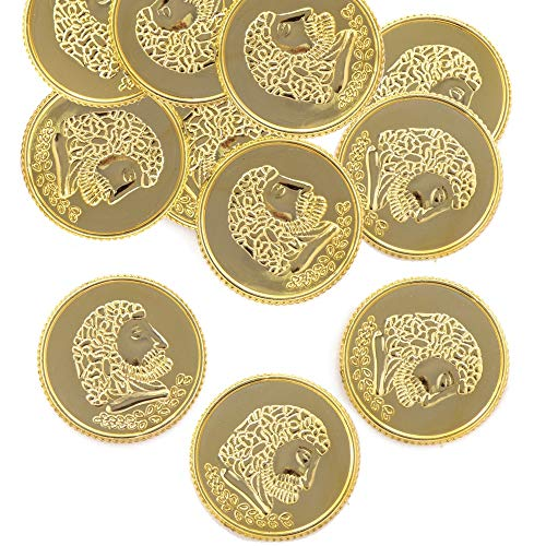 Baker Ross Ltd Gold Treasure Coins (Pack of 50) Plastic Gold Coins for Treasure, Prizes and Gifting Perfect for a Pirate Party Theme