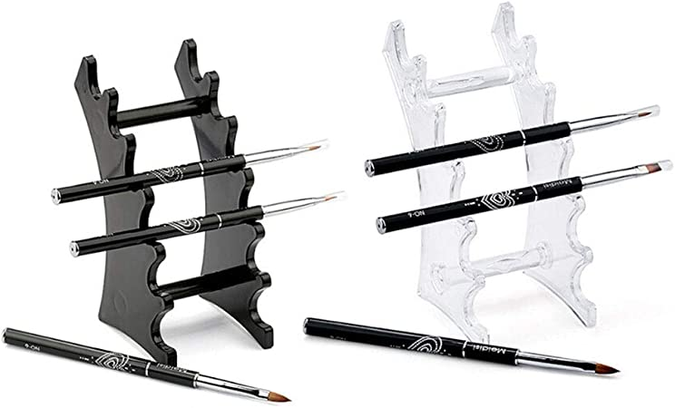 Raynag Set Of 2 Pen Display Holder Acrylic Stands Nail Makeup Art Brush Rack Organizer Holder Clear And Black 6 Layer Stand Office Products Amazon Com