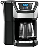 BLACK+DECKER Mill & Brew 12 Cup Programmable Coffeemaker with Built-In Grinder, Black/Stainless Steel
