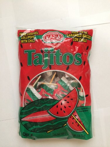 Dulce Karla Tajitos Watermelon Flavor, Hard Caramel Lollipops with Chili, Paletas De Caramelo Macizo Con Chile Sabor De Sandia, 1.5 Lb Bag, 680g
