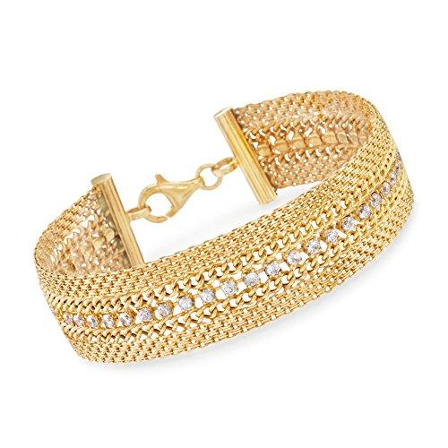 Ross-Simons Italian 4.30 ct. t.w. CZ Bismark Bracelet in 18kt Yellow Gold Over Sterling Silver ()