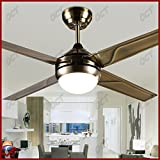 OCT® Original Design Indoor Pendant Lights 4 Iron Blades +Wireless Remote Control+Modern Chandelier 48 Inch Led Ceiling Fan Lights Fashion Ceiling Fan Motor Lighting (Green Antique Brass)