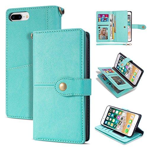 Black Friday Deals Cyber Monday Deals-iPhone 8Plus Case, iPhone 7Plus Wallet Case,Flip Leather Credit Card Holder Cash Pockets Wristlet Protective Case for iPhone 8Plus 5.5inch (Green)]()