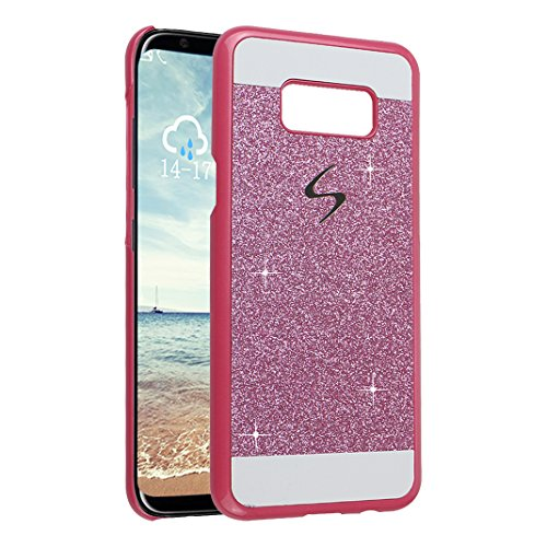 3PCS Galaxy S8 Plus Cáscara, Galaxy S8 Plus Funda Protectora, Moon mood® Duro PC Bling Cristal Glittar Caso Trasero Cubierta Teléfono Concha Estuche Back Case Cover Phone Shell Bumper Protección Piel  Rosa