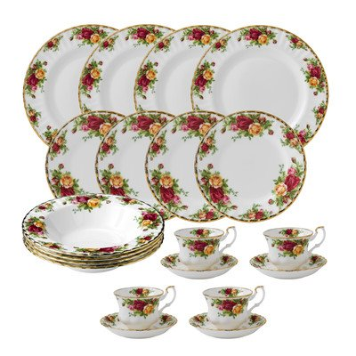Old Roses Country - Royal Albert Old Country Roses 20 Piece Dinnerware Set, White