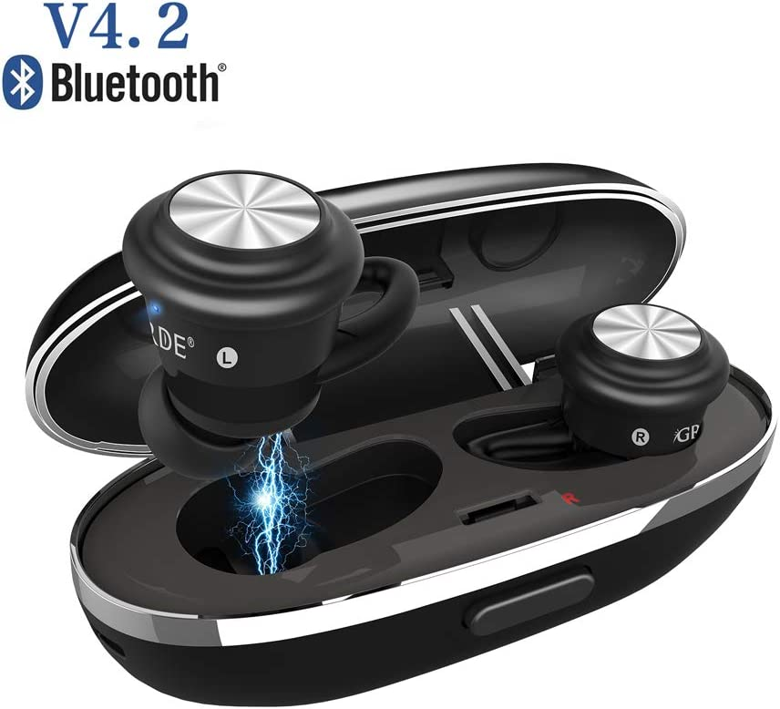 [2019 Version] Wireless Earbuds, TWS Touch Control Bluetooth Headphones Stereo IPX4 Sweat-Proof Sports Earphones in-Ear True Wireless Earbuds with Mic & Charging Case for iPhone iPad Android
