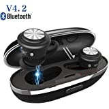 Mini Auriculares Bluetooth V4.2, TWS Auriculares Inalámbricos con HD Mic, Control Ttáctil Hi-Fi Sonido Estéreo in Ear Auriculares, Auricular Invisible con Caja de Cargando, para Smartphones